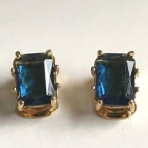 Gold Vintage Style Art Deco Clip On Earrings Blue